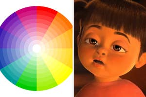 Boo looking confused in Monsters Inc. and a picture of the color wheel