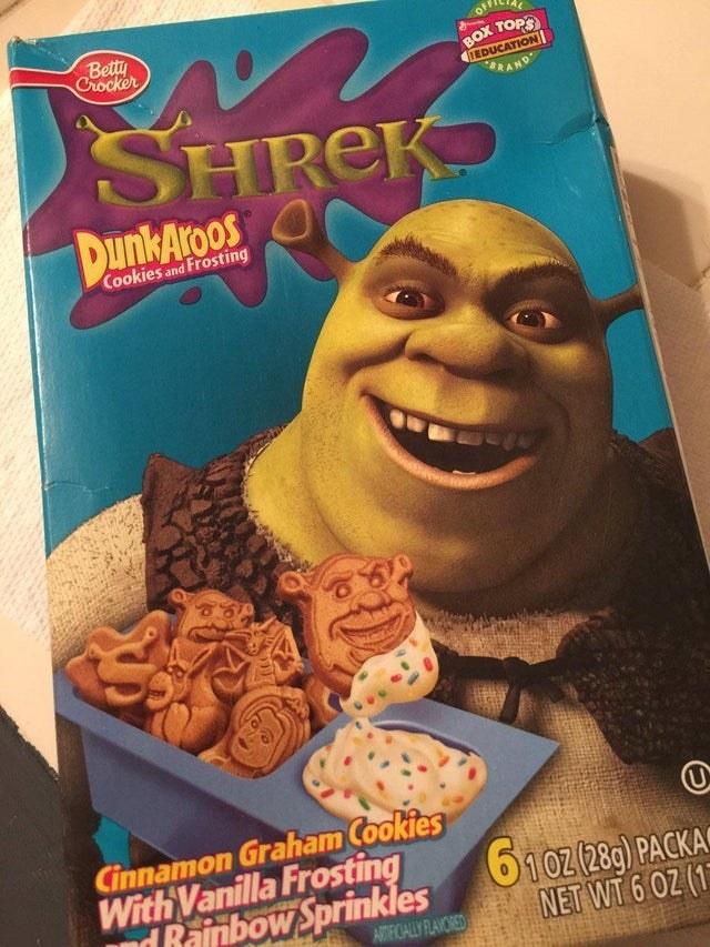 A Shrek shaped Dunkaroos