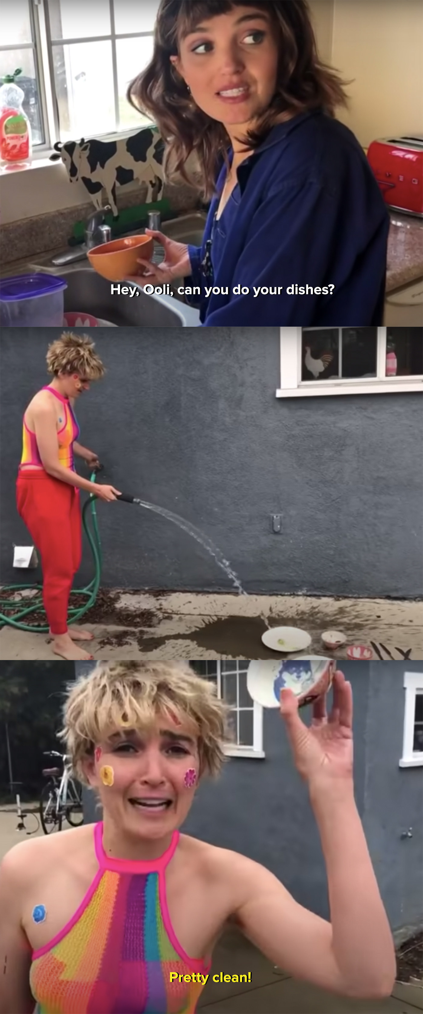 Ooli does her dishes with the hose