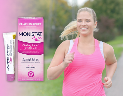 The powder gel next to a person running to show its anti-chafing benefits