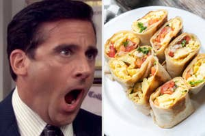 Michael Scott is on the left screaming with a plate of breakfast burritos on the right