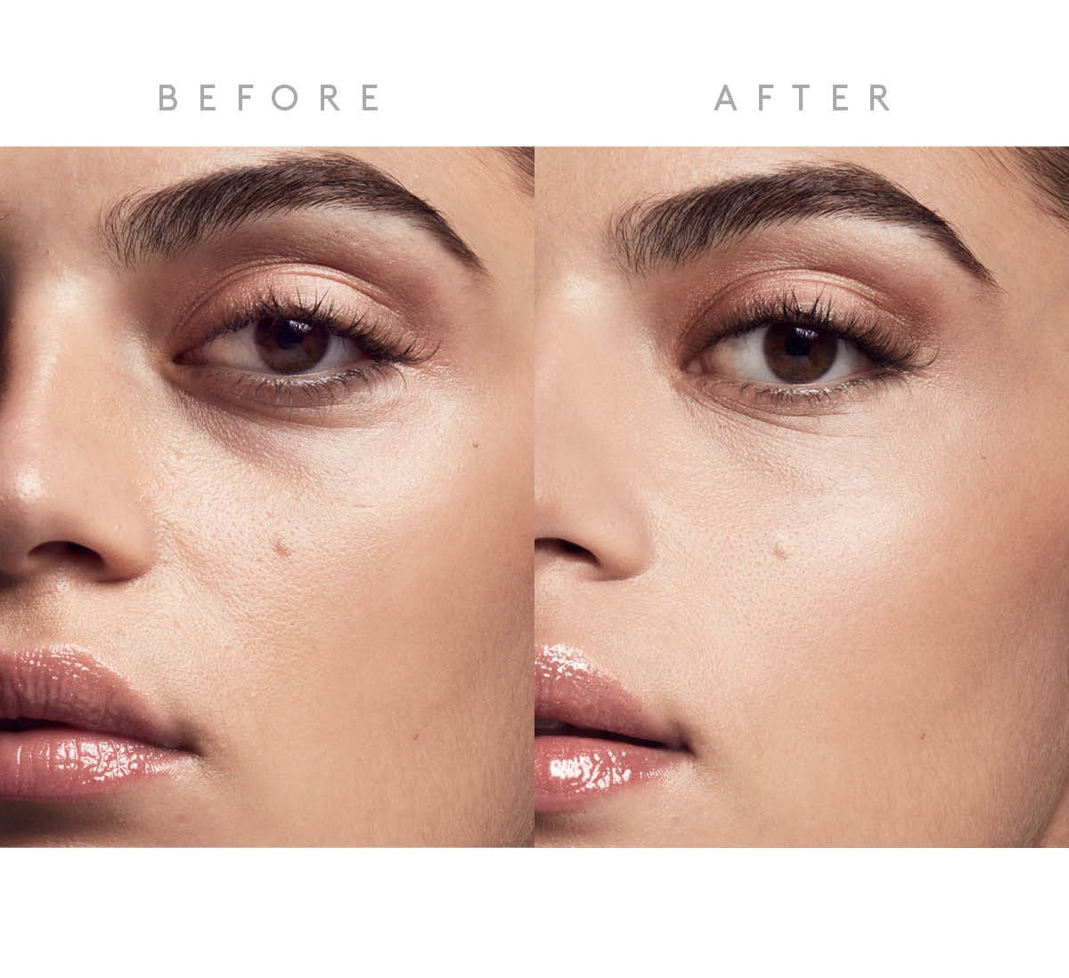 a before and after of a model with visible dark circles under eyes, then smoother even-toned undereyes after using concealer