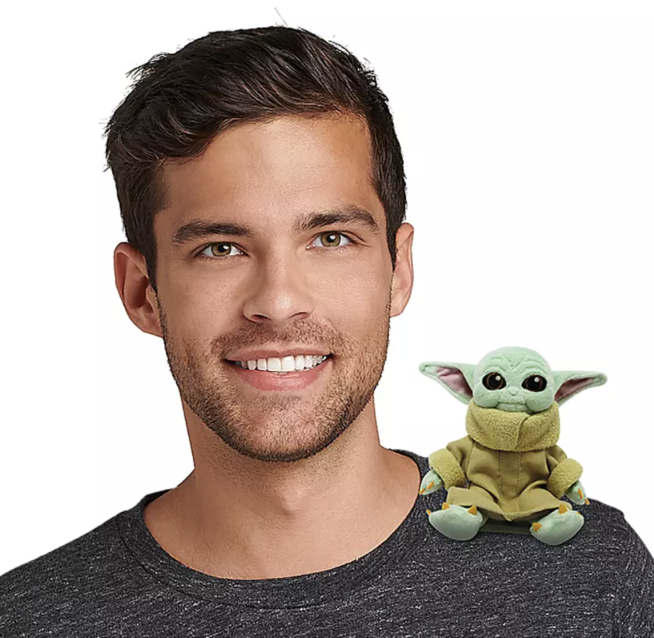 a model with baby yoda on his shoulder