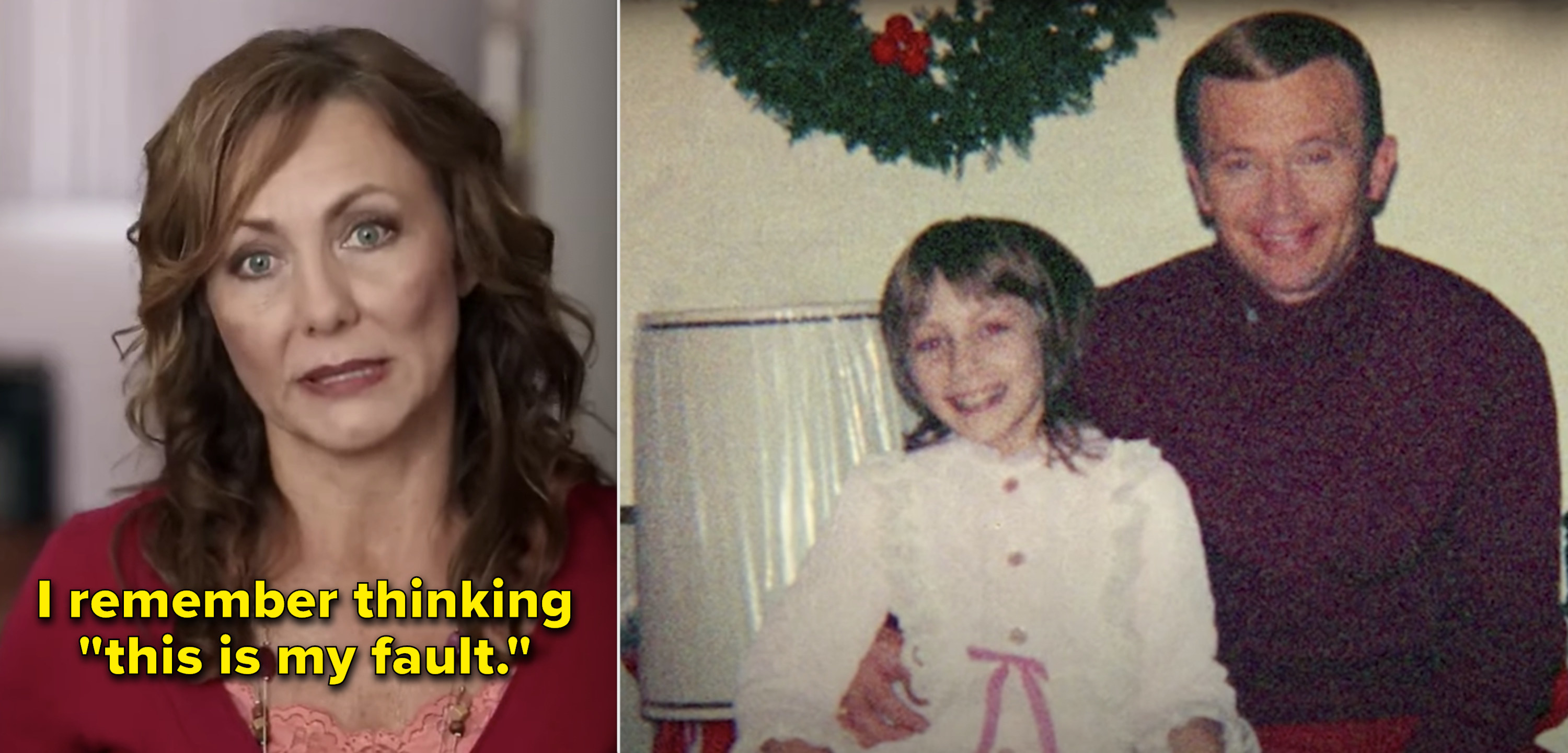 Side-by-side of Jan Broberg, vs. Jan as a kid being photographed with her kidnapper