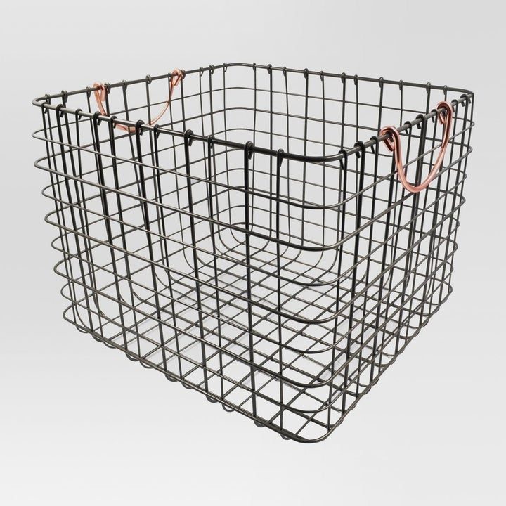 wire milk crate with gold handles