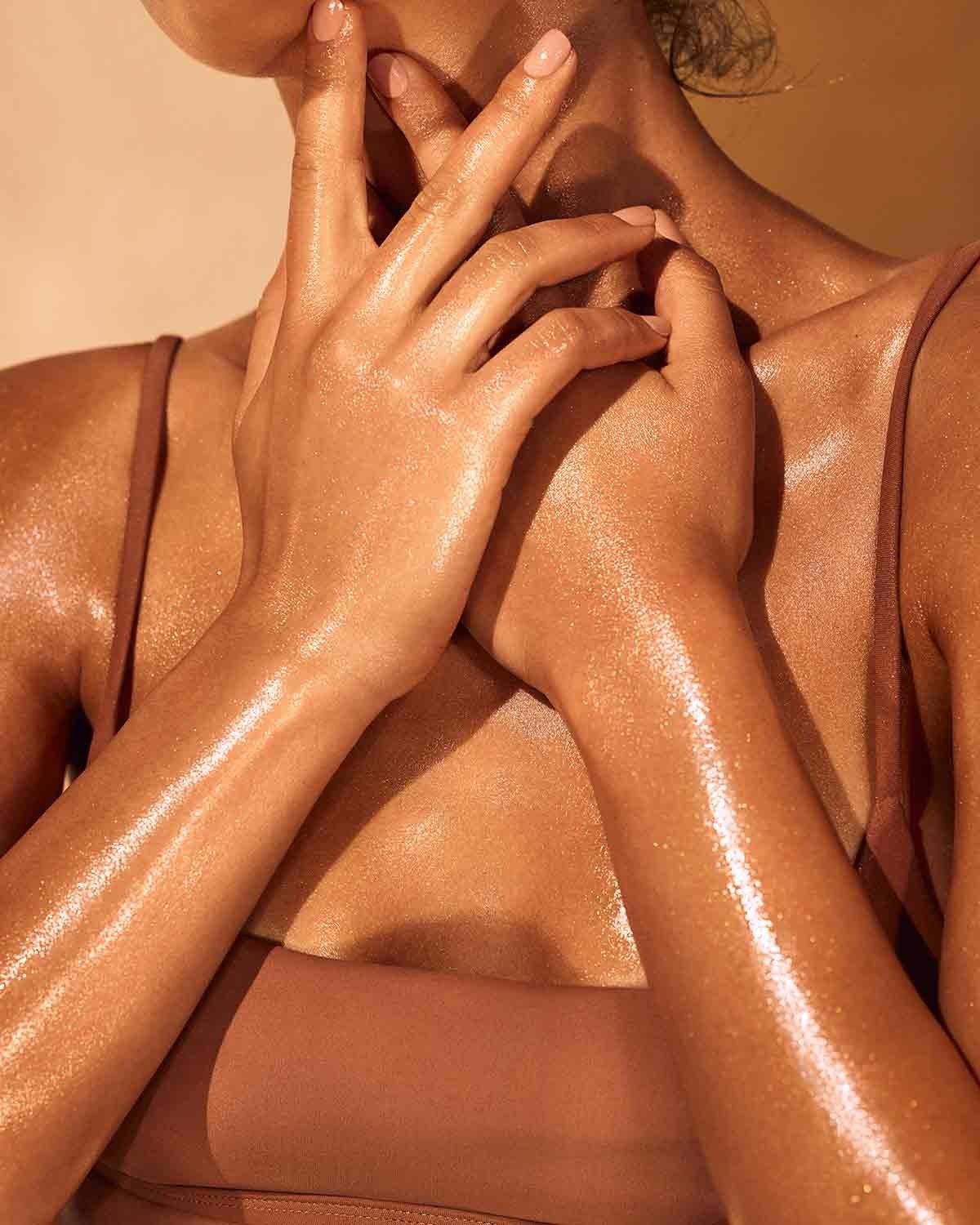 model soaked in the luminizer and glowing