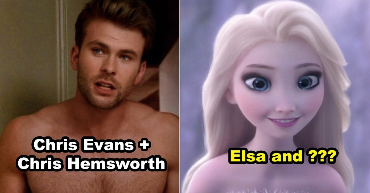 Chris Evans and Chris Hemsworth face morphed, and Elsa face morphed with Rapunzel