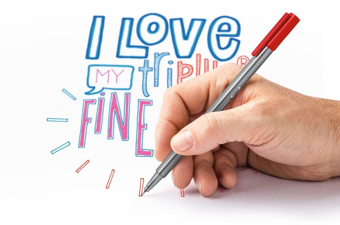 Person writing with the fine tip pen in red