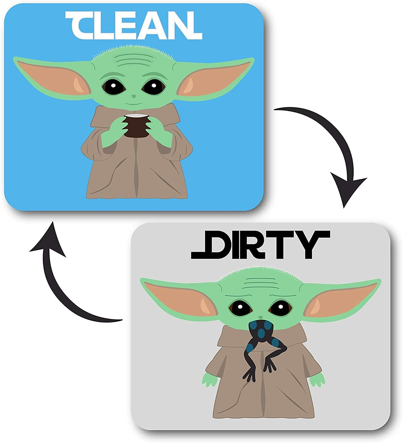 """one side of a magnet is blue with baby yoda on it and the word """"clean"""" the flip side is grey with baby yoda on it eating a frog and the word """"dirty"""""""