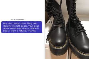 A Depop buyer received two left boots when they ordered a pair
