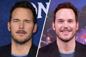 Side by side photos of Chris Pratt