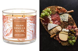 On the left, a Warm Vanilla Sugar candle from Bath & Body Works, and on the right, a charcutier board with various meats, crackers, cheese, grapes, and olives
