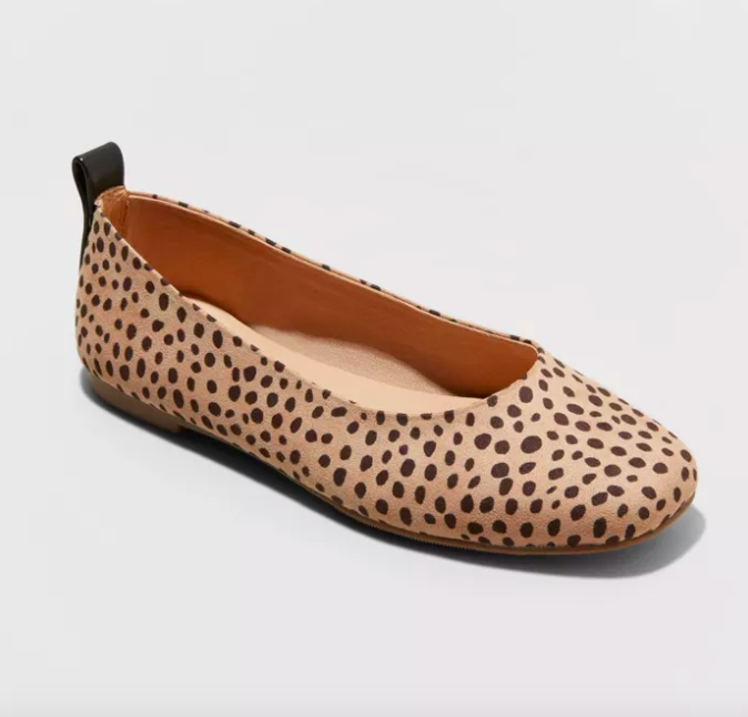 light beige ballet flat with a brown dot pattern