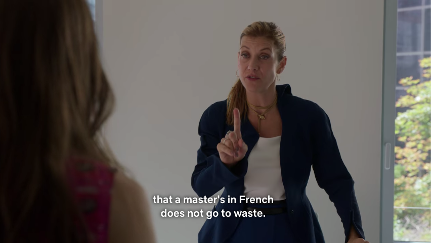 Madeline talking to Emily about the French language.