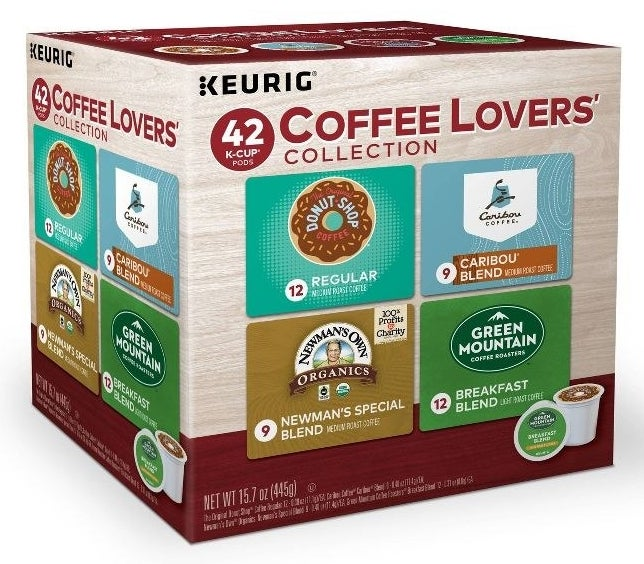 A box of the Keurig Coffee Lovers' Collection Sampler Variety Pack Medium Roast