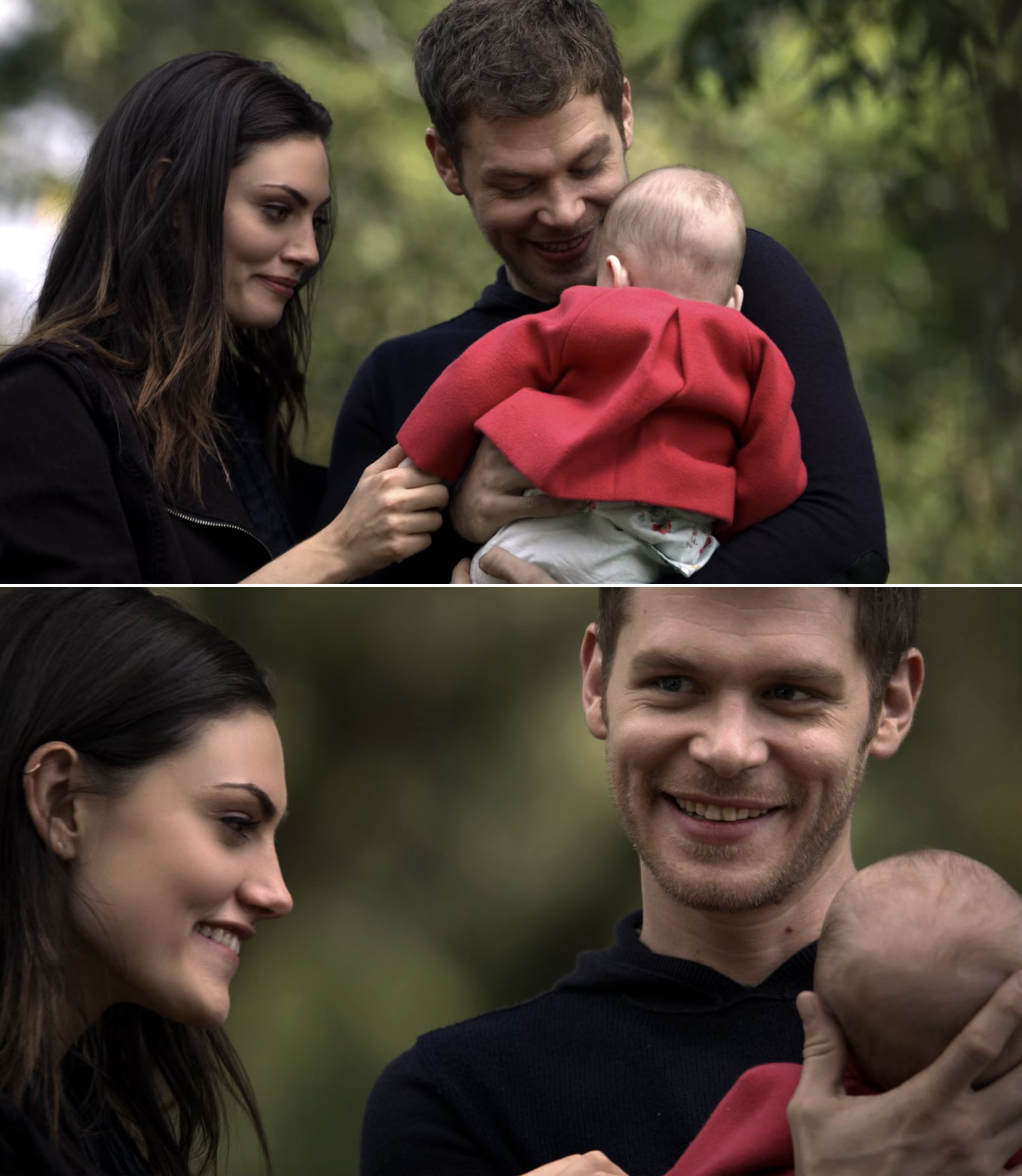Klaus smiling with Hayley while holding Hope