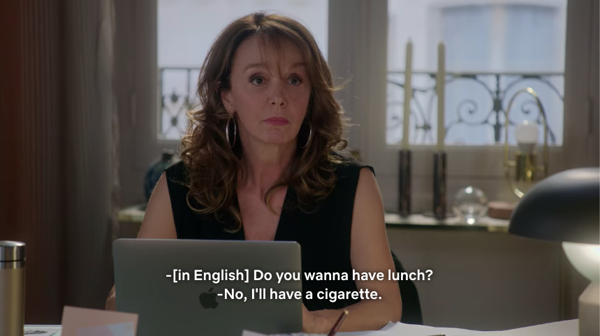 Emily's boss rejecting her lunch proposal.