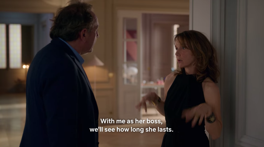 The two bosses discuss the length of Emily's stay.