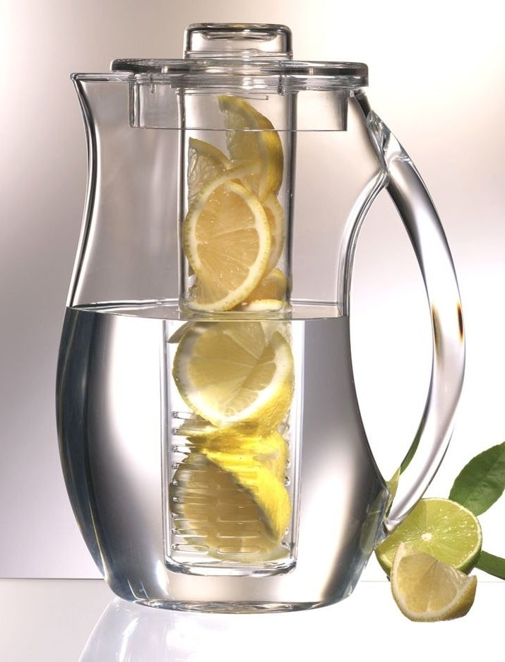 The water pitcher, which has a central column running the length of the pitcher that holds fruit