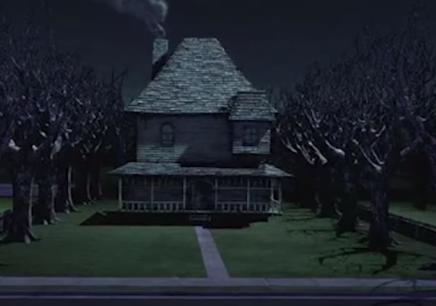 Dark and gloomy monster house with smoke coming from the chimney and dead trees around it