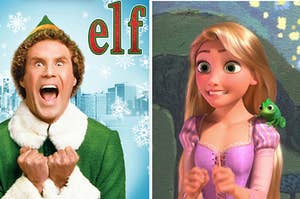 A poster of Elf next to an image of Rapunzel