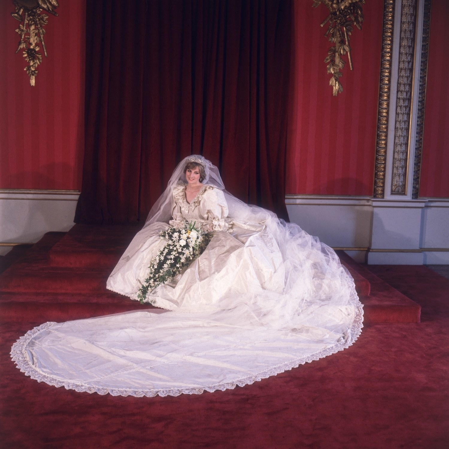 Formal portrait of Lady Diana Spencer (1961 - 1997) in her wedding dress designed by David and Elizabeth Emanuel.