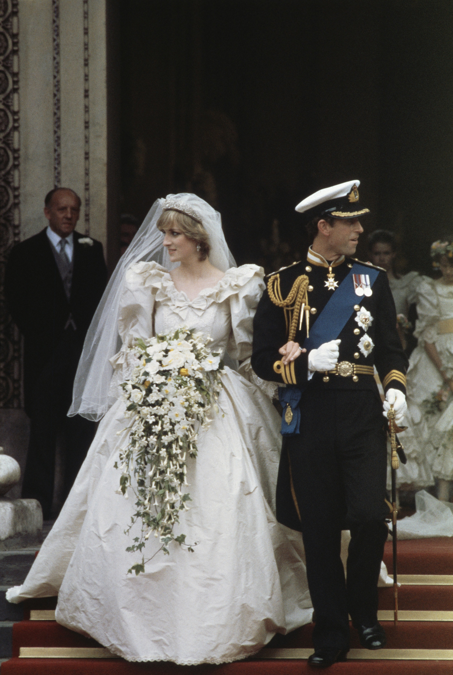 Lady Diana Spencer (1961 - 1997) in her wedding dress designed by David and Elizabeth Emanuel.