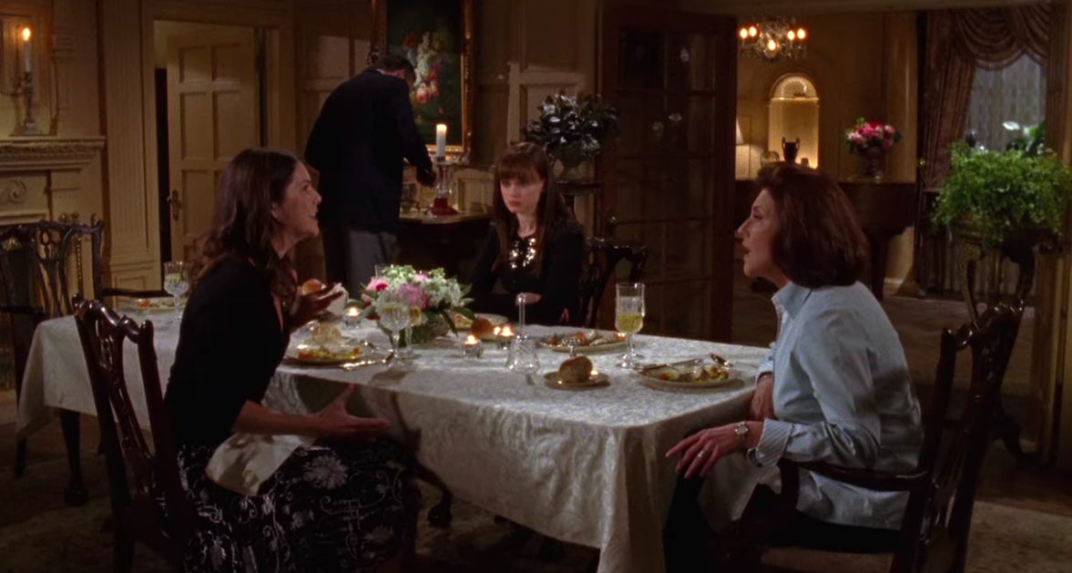 Lorelai, Rory, and Emily yell at each other over the dinner table