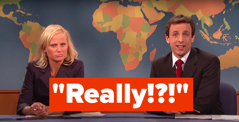 """Amy Poehler and Seth Meyers saying, """"Really"""" indignantly"""