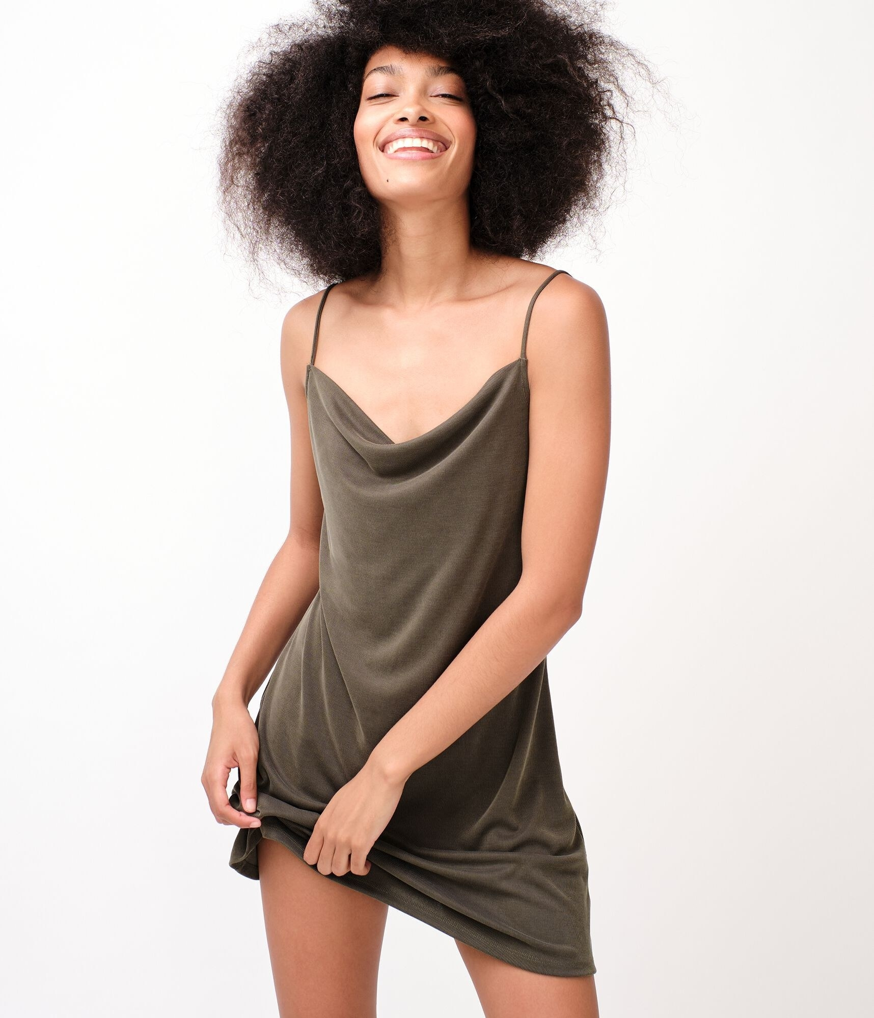 Green slip mini dress