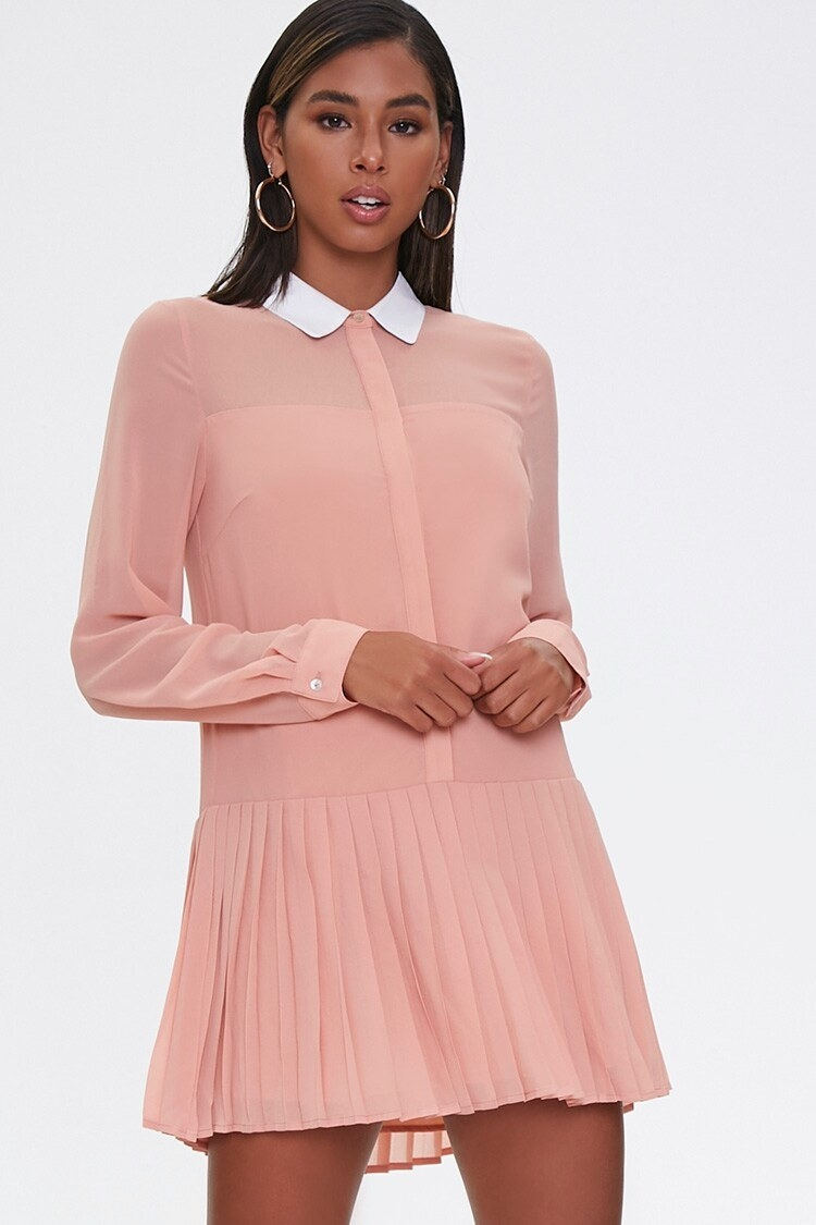 Long sleeve shirt dress with pleated mini skirt