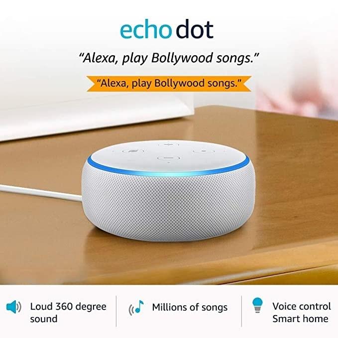 White Echo Dot speaker.
