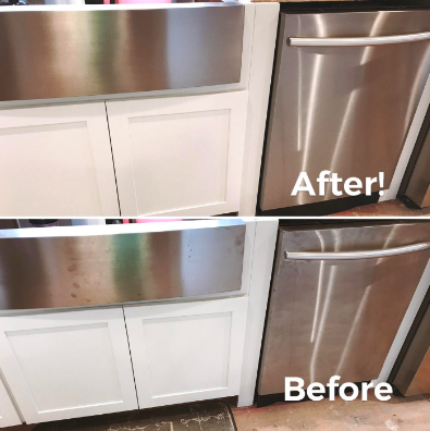 Reviewer's dishwasher and stainless steel sink detail covered in fingerprints before and free of finger prints after using product