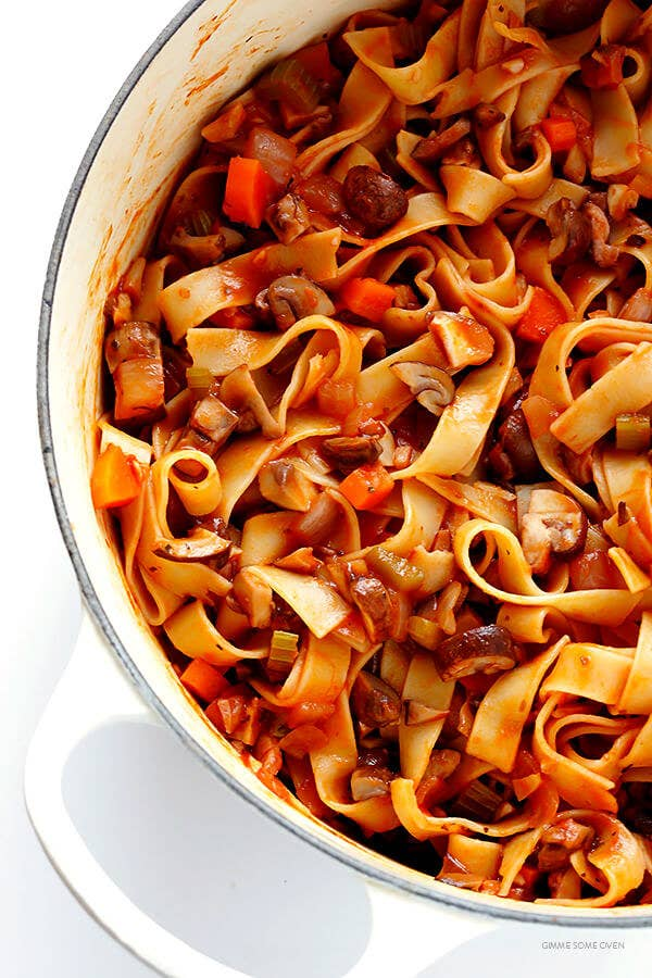 """A pot filled with tagliatelle mushroom """"Bolognese."""""""