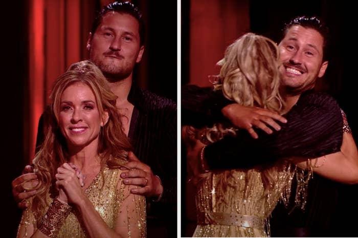 Monica Aldama hearing she's safe from elimination and hugging her partner