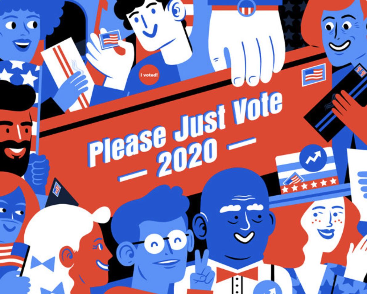 """BuzzFeed's """"Please Just Vote 2020"""" campaign."""