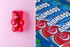 A gummy bear is on the left with a pack of Airheads on the right