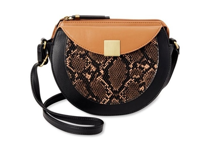 black, tan and snakeskin rounded crossbody bag