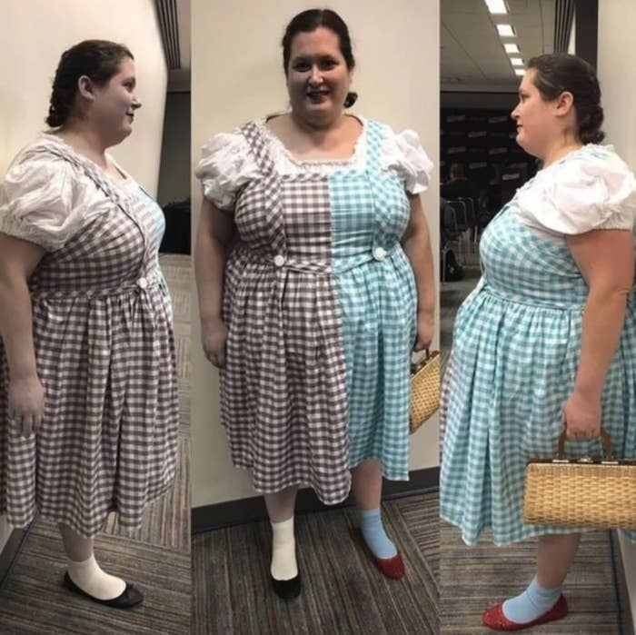 "A woman dressed as Dorothy from ""The Wizard of Oz,"" but half of her is in black and white and the other half is in color"