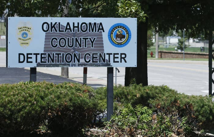 """A sign at the entrance to the jail reads """"Oklahoma County Detention Center"""""""