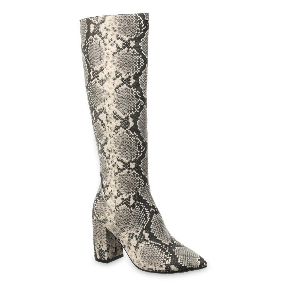 snakeskin knee-high heeled boots