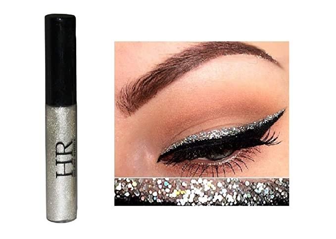 Silver metallic glitter eyeliner.