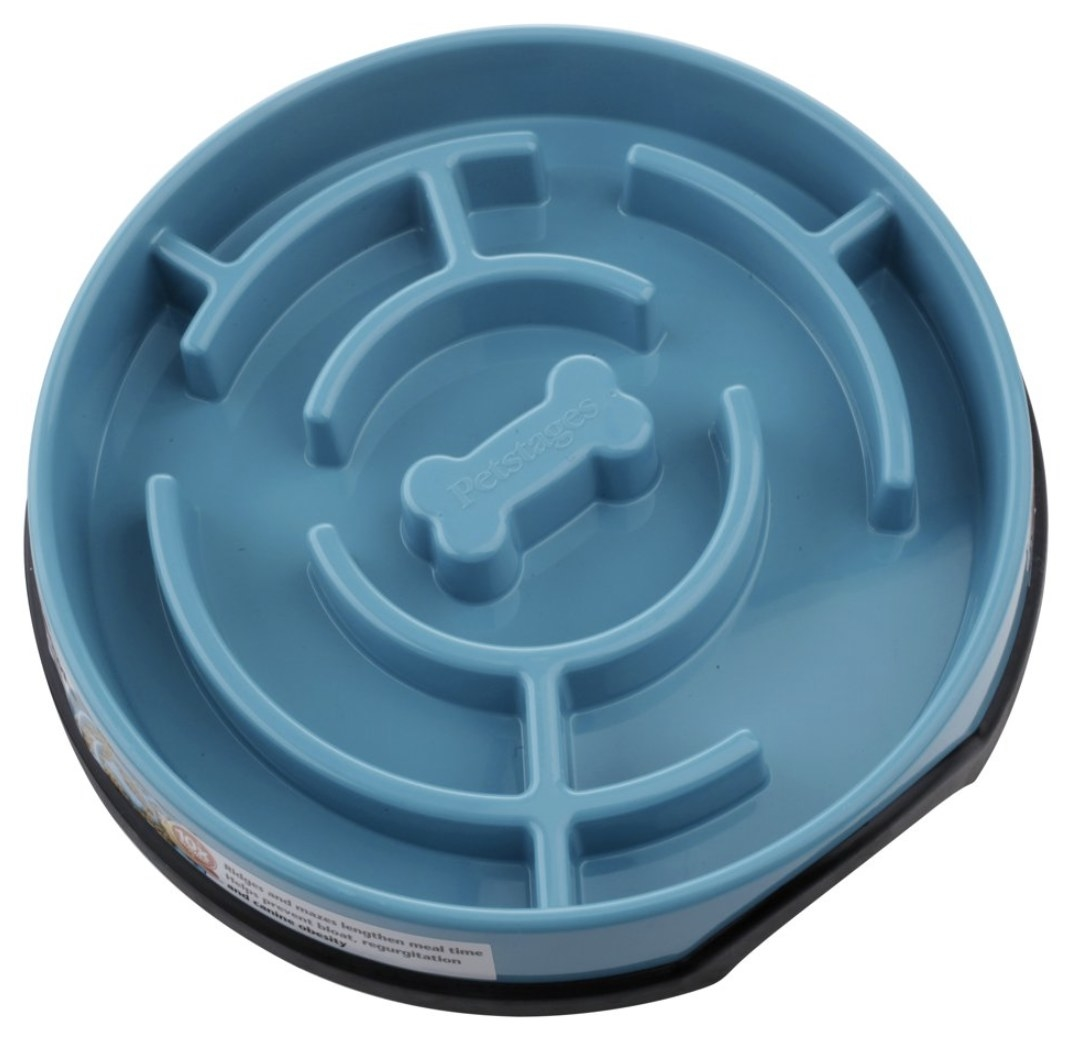 A light blue feeder bowl with a maze-like structure inside for slow feeding