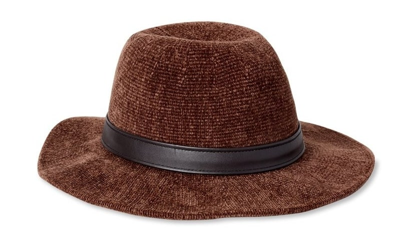 chenille fedora with faux leather trim