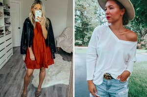 to the left: a tiered orange dress, to the right: a white off the shoulder top