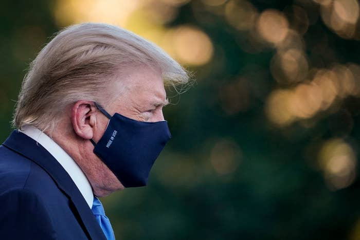 Donald Trump with a face mask on