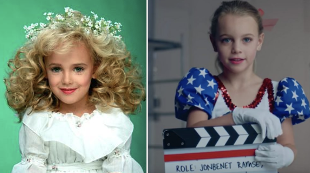 A side-by-side of JonBenét Ramsey in a pageant outfit, next to a girl auditioning to play her