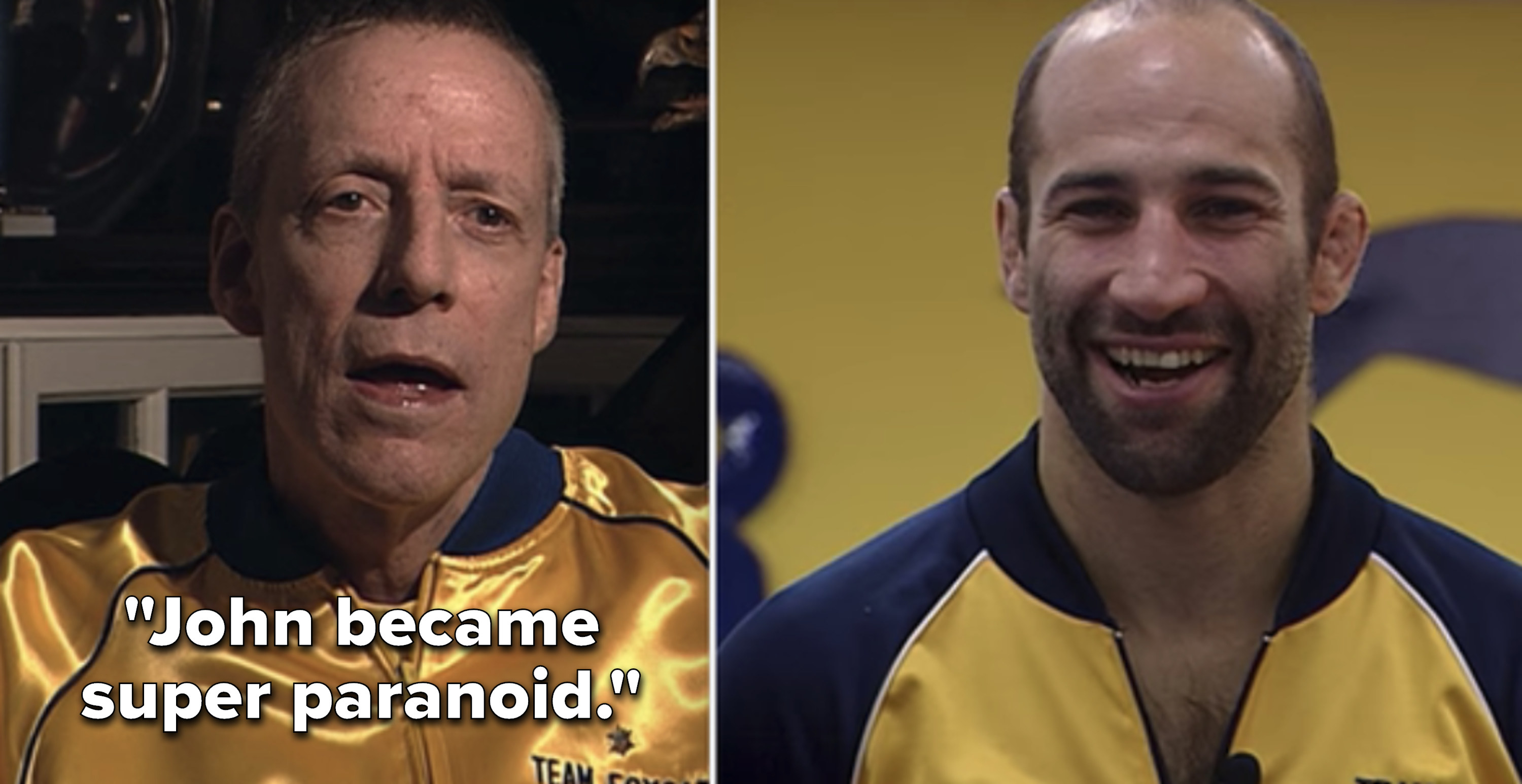 Side-by-side fo John du Pont and Dave Schultz in their wrestling team jackets