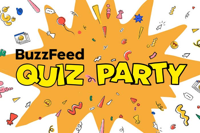 "A cartoon of an explosion with random objects coming out including arrows and swiggles with ""BuzzFeed Quiz Party"" written on top"