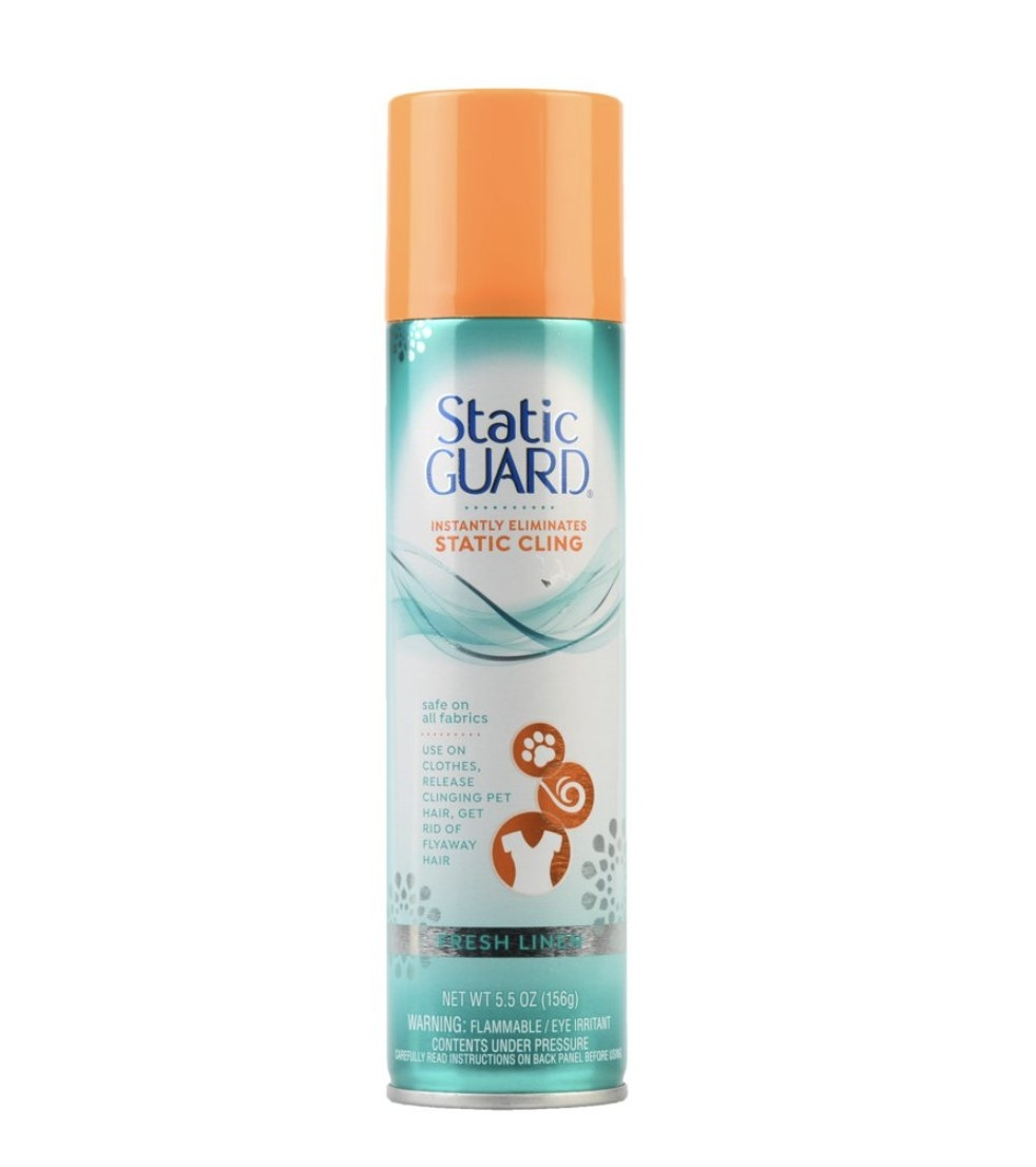 A teal and white can of Static Guard spray